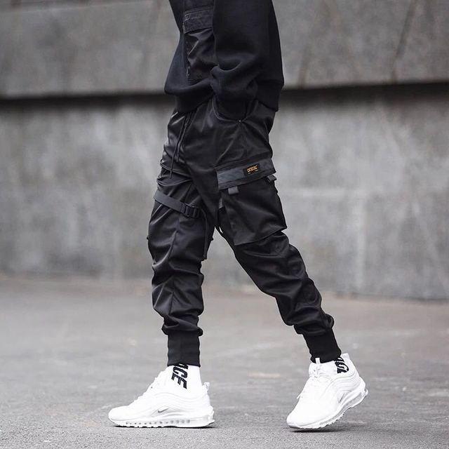 Pantalones tácticos para hombre, ropa para correr, color negro