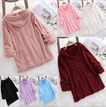 Women Hoodies Autumn Winter Solid Color Long-sleeve Hooded Pullover Lady Harajuku Hoodie Hoodies Fashion Drawstring Femme Jumper color block panel drawstring pullover hoodie