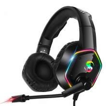 K15 jogos fones de ouvido com cancelamento de ruído superior microfone macio memória espuma fone de ouvido com rgb led som estéreo jogo fone de ouvido