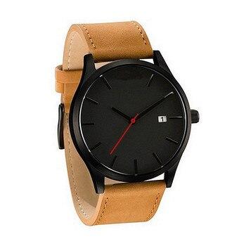 Парные Модные Аналоговые кварцевые часы с кожаным ремешком, круглые мужские часы в деловом стиле, роскошный брендовый Мужской стальной браслет, кварцевые часы