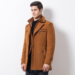 Image 3 - Winter Männer Beiläufige Wolle Graben Mantel Mode Business Medium Solide Verdicken Schlank Windjacke Mantel Jacke Männlichen Plus Größe 5XL