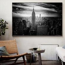 Холст с изображением Нью Йорка Манхэттена постеры и печать черно