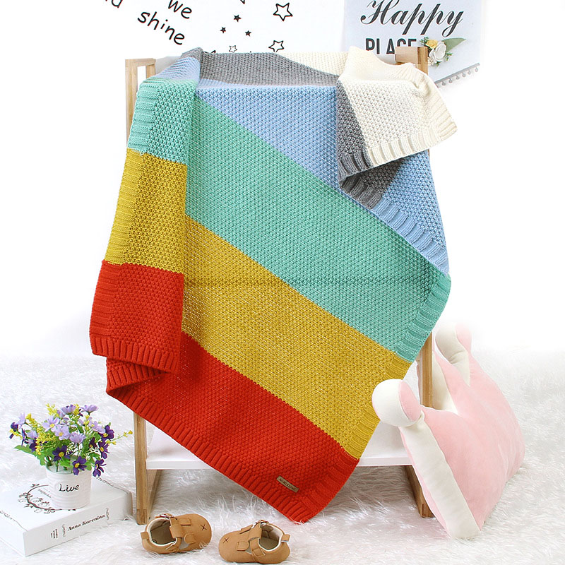 Baby Knitted Rainbow Blanket Baby Stroller Cover Baby Blanket Newborn Swaddle Wrap For Infant Toddler Baby Bedding Blanket
