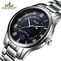 Luxo aesop relógio relogio masculino hodinky reloj men safira cristal quartzo relógio de pulso de aço lua masculino hombr