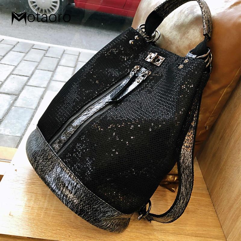 New Fashion Sequins Leather Laptop Backpack Women Female Personality Lock Anti Theft Bagpack Travel Mochila Feminina  Back Pack