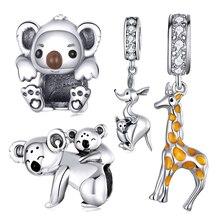 2020 neue Tier Serie 925 Sterling Silber Nette Koala Giraffe Anhänger Charme Fit Marke Armband Lebendige Känguru Geschenk Schmuck