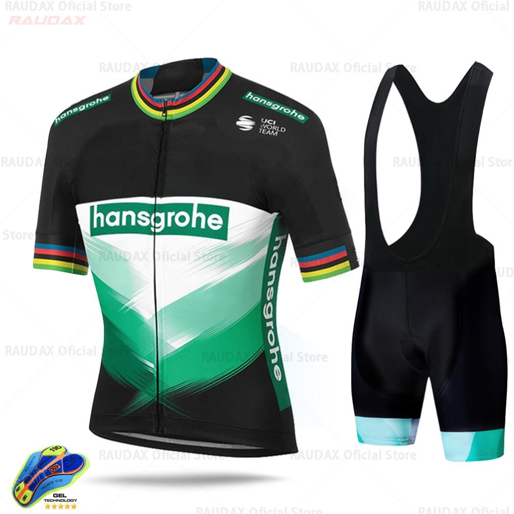 2020 boraful hansgrohe サイクリングジャージセット半袖サイクリングシャツバイク自転車服服 ropa ciclismo 夏の摩耗