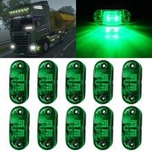 10X зеленый светодиодный, боковой, габаритный фонарь-мигалка для грузовиков, прицепов, фургонов, водонепроницаемый 12В-24В для автозапчастей