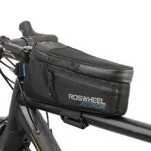 цена на ROSWHEEL 1.5L Waterproof Bicycle Bag Front Beam Frame Tube Bag MTB Road Foldig Bike Phone Bag Cycling Accessories