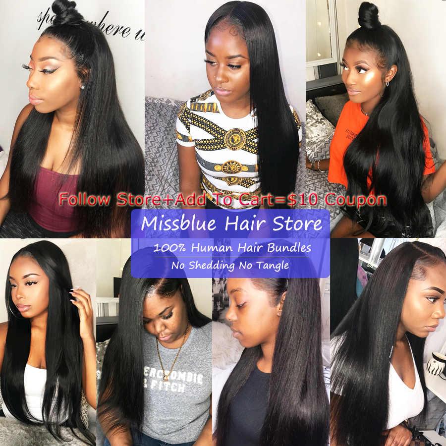 Missblue 30 32 34 36 38 40 Inch Brazilian Hair Weave Bundels Straight 100% Menselijk Haar Bundels Remy Hair Extensions natuurlijke Kleur