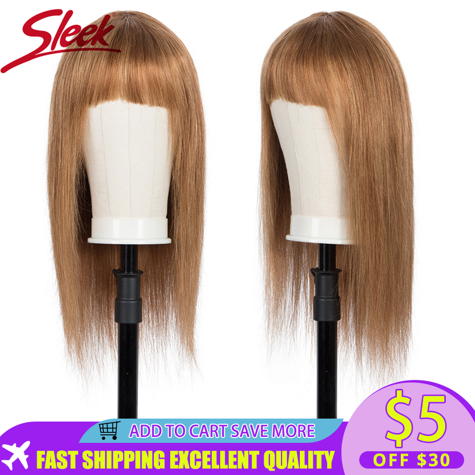 Sleek Short Human Hair Wigs Highlight Brazilian Hair Wig For Women Straight Bob Wigs With Bang 30 Inch Blonde Ombre Cosplay Wig
