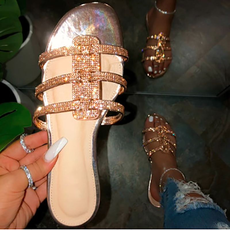 Fashion Sexy Sequins Surround Women Slippers Roman Style Summer New Women's Sandals PVC Flat Outdoor Beach Slippers