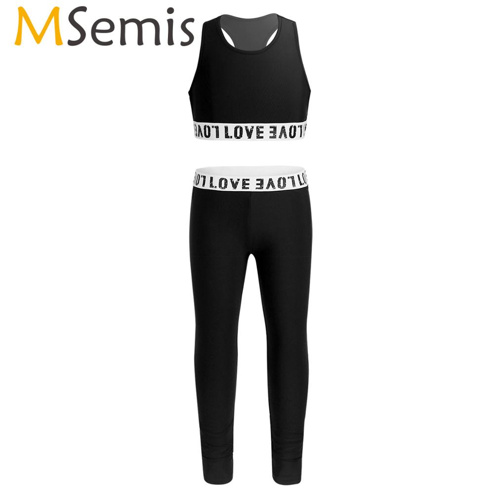 MSemis Girls Workout Sports Activewear Sleeveless Gymnastic Leotard Tanks Crop Top Leggings Kid Ballet Dance Costume Clothes