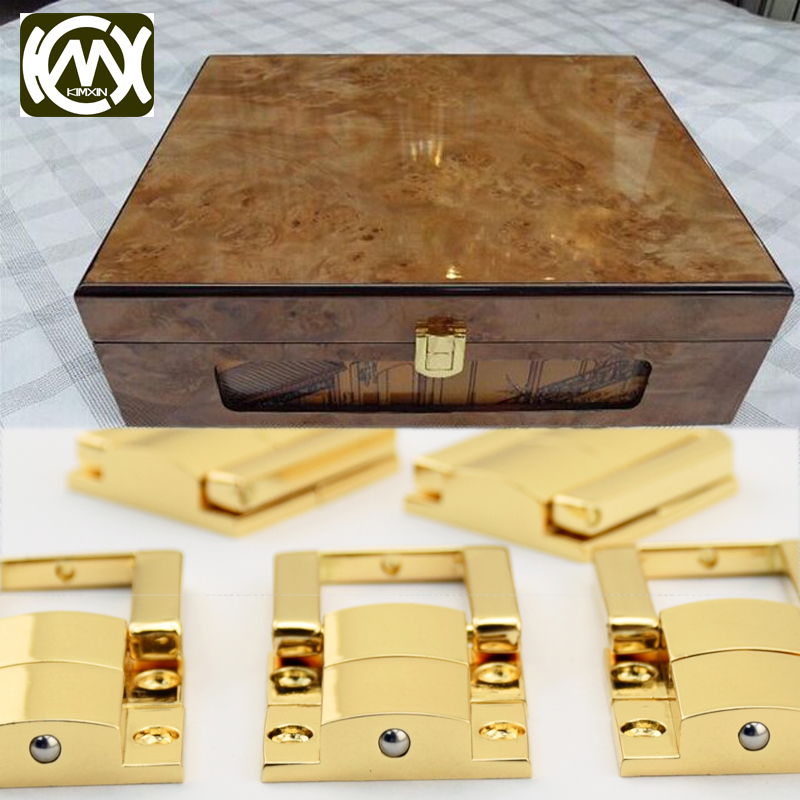 1pc 23*30mm KIMXIN High-grade 18K Golden Zinc Alloy Custom Style 4 Hole Small Jewelrybox Watchcase Packaging Closure Latch W-148