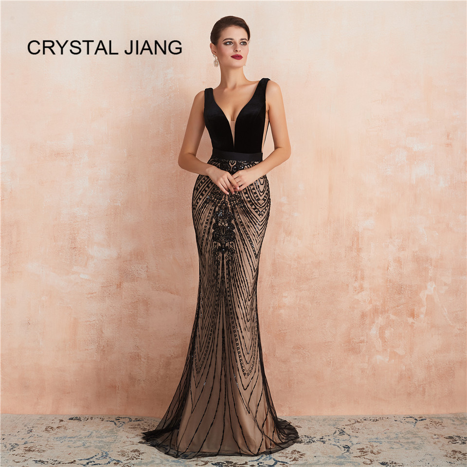 Mermaid Evening Dresses 2019 Sexy v-neck Sequin Open Back Custom made Party Gown Nude Lining Evening Gowns