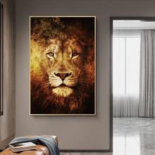 Leão arte em tela cartazes e impressões abstratas leões cabeça animais quadros na parede nordic arte cuadros fotos