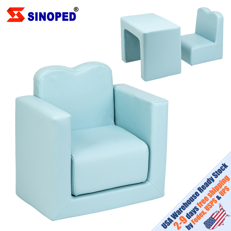 【US Warehouse】Children Sofa Multi-Functional Sofa Table And Chair Set Sky Blue Free Shipping To USA Drop Shipping