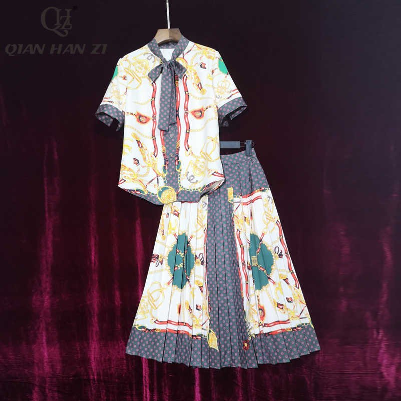 Qian Han Zi Fashion 2020 Summer two piece set Womens short-sleeved bow collar shirt+pleated vintage print Mid-length skirt suit