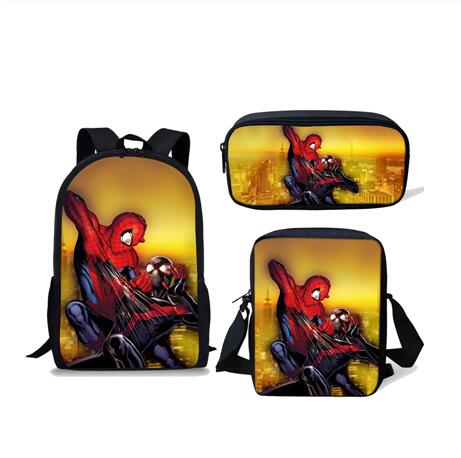 Brand 16 Inch School Bag Set 3pcs Kids Backpack Spiderman Mochila Escolar Infantil Children Pencil Shoulder Book Bags Boys Girls