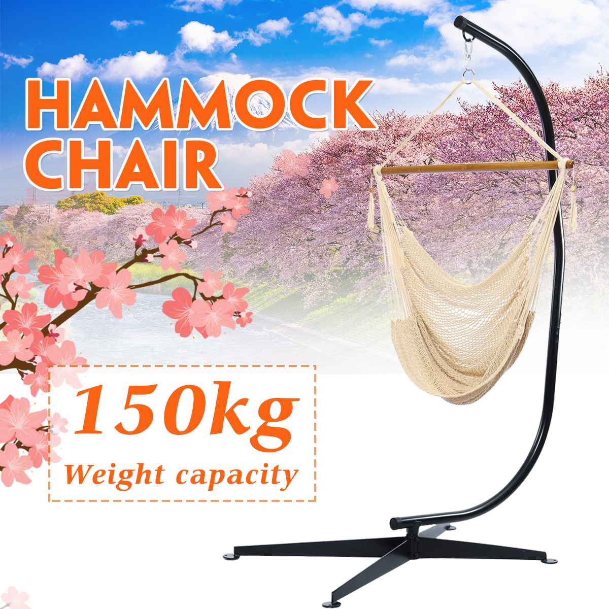 150kg/330lb Weight Load Hand Woven Cotton Hammock Chair Beige/Brown Rope Cotton Swing Chair Seat Hanging Chair With C-stand