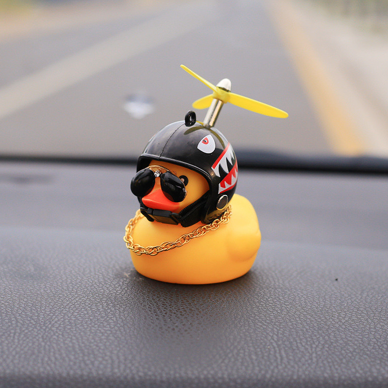 Standing Yellow Duck Bicycle Bell And Alarms Broken Wind Small Road Bike Motor Helmet Riding Cycling Accessories With Lights(China)