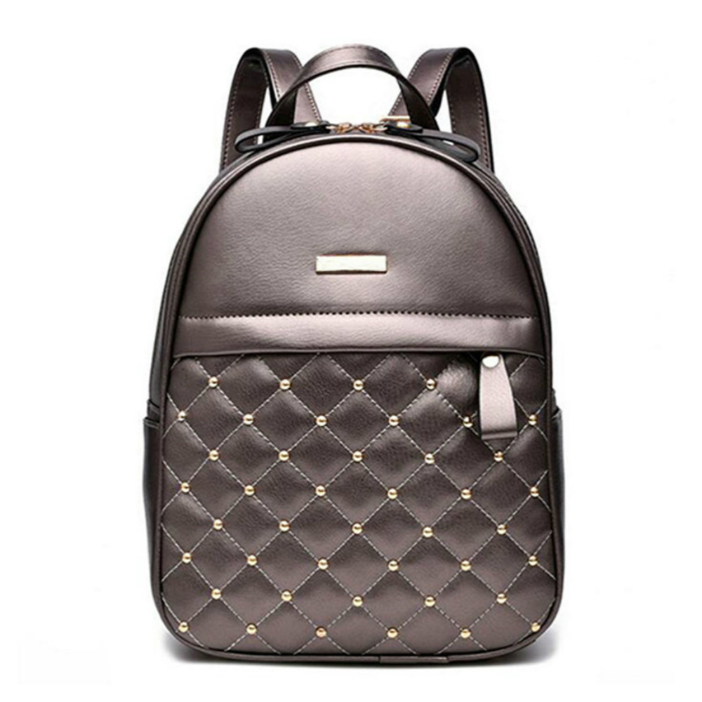 Women's Backpack Quality Leather Female Shoulder Bags Casual School Bag For Teenage Girls Plaid Ladies' Travel Bag Mochila Sac