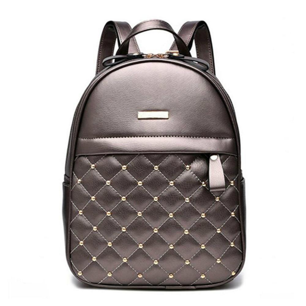 Women's Backpack Quality Leather Female Shoulder Bags Casual School Bag For Teenage Girls Plaid Ladies' Travel Bag Mochila Sac