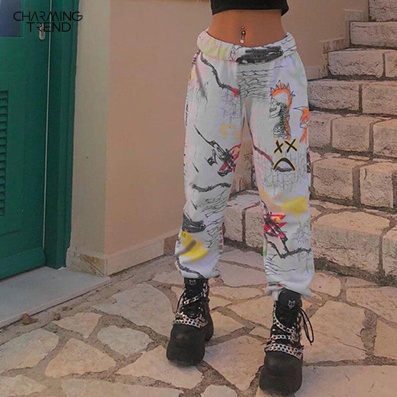 Hip-hop BF tie-dye women pant straight tube elastic waist long female Sweatpants streetwear painted Loose high waist women pants