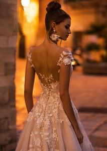 Image 4 - vivians bridal 2019 ins hot floral print wedding dress elegant double v neck sweep train boho crystal yarn luxury bridal dress