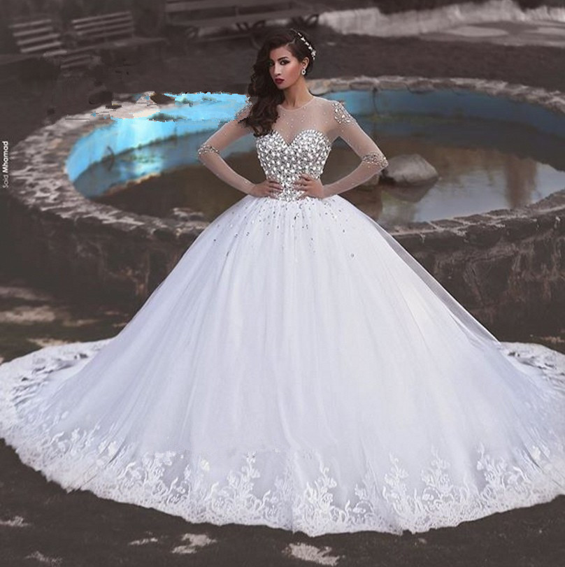 Ball Gowns Luxury 2018 Rhinestones Long Sleeve Bridal Gown Lace Vestido De Noiva Robe De Mariee Mother Of The Bride Dresses