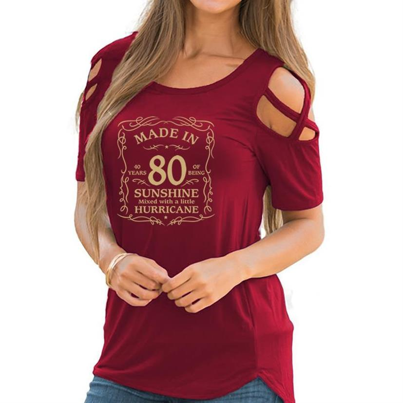New Arrival Womens 40th Birthday Gifts-Made In 80 Letters Print Bandage Off Shoulder T-Shirt For Women Plus Size Harajuku Tshirt image