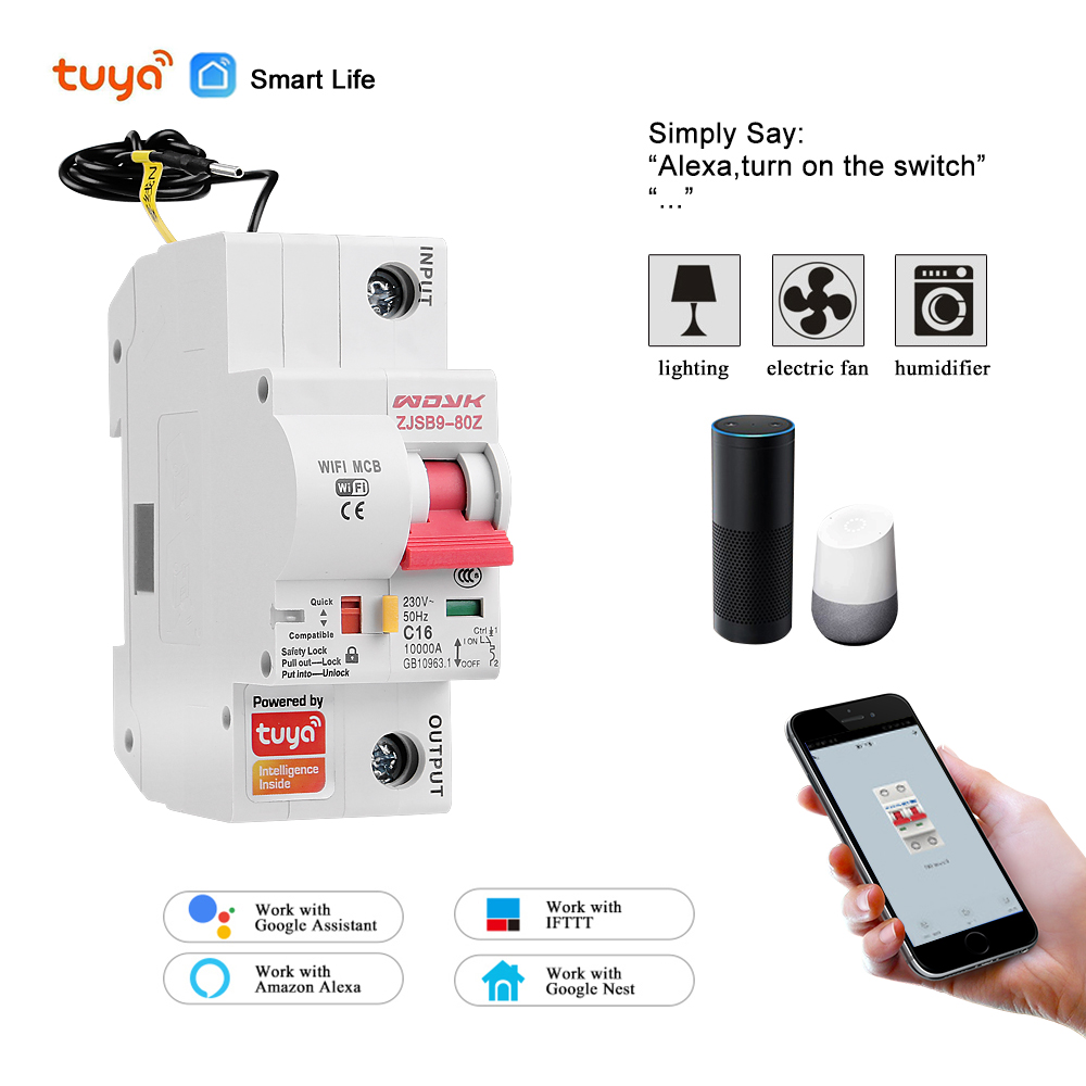 Smart Life(tuya) App 1P WiFi Smart Circuit Breaker Overload Short Circuit Protection With  Alexa Google Home For Smart Home