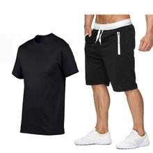 logo clothing factory work clothes wholesale trade solid color short sleeve t-shirt Men's shorts
