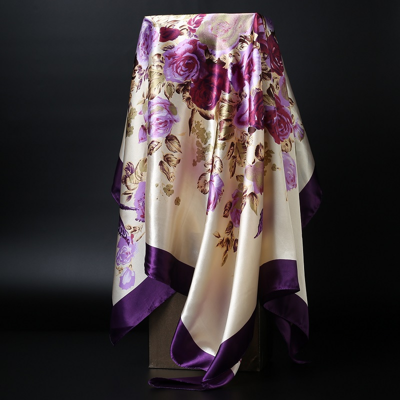 Fashion Kerchief Hair Scarf For Women Green Purple Print Silk Satin Hijab Scarfs 90cm*90cm Square Shalws Scarves For Ladies 2019