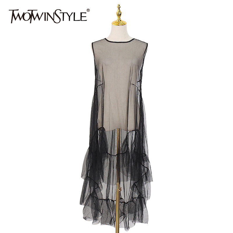 TWOTWINSTYLE Casual Perspective Dress For Women O Neck Sleeveless Hollow Out Loose Mesh Dresses Female Spring Fashion New 2020