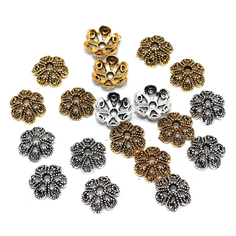 12mm Metal Vintage Silver Plated Bead Cap Cutout Flower 6 Petals Speck Beads Caps Jewelry Supplies Charms for Jewelry Making