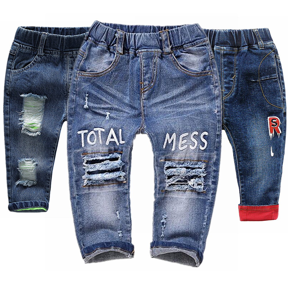 Baby Jeans Denim Pants Holes Ripped Infant Kids Clothing Trousers Cotton 0-6T 1-2-3 Babe title=
