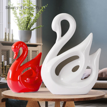 2Pcs Direct sales modern home decoration ceramic red white swan creative living room wine cabinet TV cabinet porch decoration