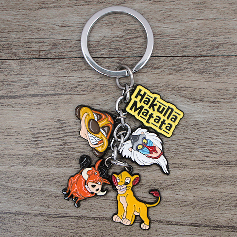 K345 The Lion King Keychain Cartoon Animal Keys Ring Gift For Fans Pendant Key Holder Car Key Rings Jewelry Gifts 1PCS