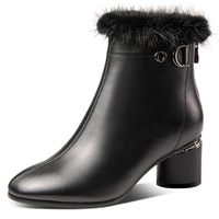 NEMAONE Women's genuine leather ankle Boots rouned High Heels office ladies Shoes Woman winter warm snow Boots Large size 34 42
