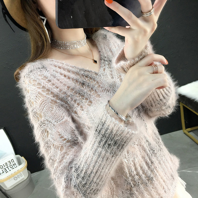 Sweater Female 2019 Autumn Winter Cashmere Knitted V Neck Sexy Hollow Out Women Sweater And Pullover Female Jumper Pull Femme