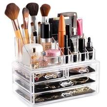 Transparent Cosmetic Storage Box Makeup Organizer  Rangement Double Brush Lipstick Jewelry Drawer Organizador