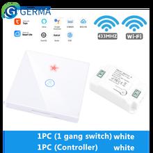 GERMA Tuya Smart Life APP สวิทช์ WiFi RF 433Mhz Wall DIY รีเลย์ตั้งเวลารีเลย์โมดูล Google Home 110V 220V 10A