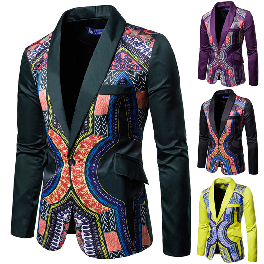 Blazer Dashiki Print 2019 News African Clothes Men Jacket One Botton Party Rich Bazin Retro Coat Full Sleeve Male Clothing M-3XL