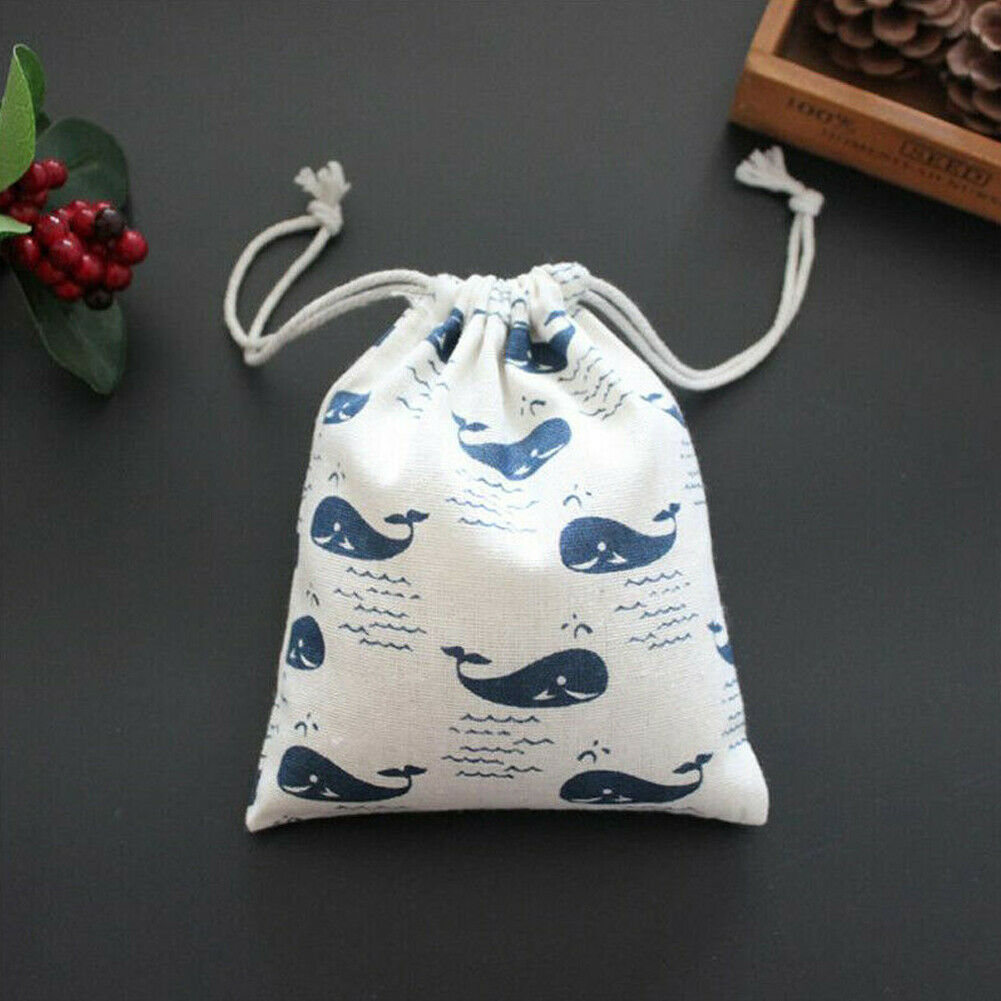 New Fashion Drawstring Storage Bag Cotton Linen Tea Gifts Candy Container Bag Sundries Box