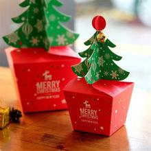 Christmas Tree Gifts 2019  Packing Box Wedding Dragees Candy Bar Bags New Year Apple with Bells Golden Cord