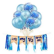 Мой 1/2 день рождения розовые синие латексные конфетти Шары Баннер это мой половина дня рождения Декор 6 месяцев мальчик девочка Вечеринка Baby...