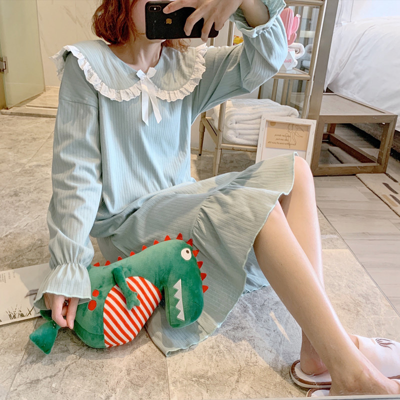Nightgown Women's Spring And Autumn Long Sleeve Pure Cotton Cute Lace Princess Style Korean-style Fresh And Sweet Thin Summer Ho