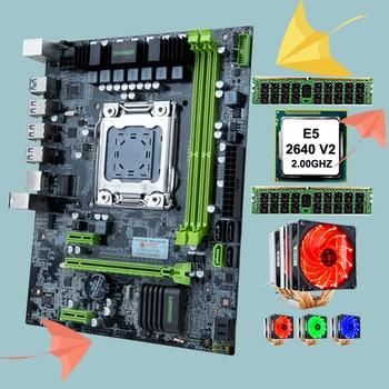 HUANANZHI X79 6M micro-ATX motherboard combo promotional desktop motherboard computer hardware DIY CPU Intel Xeon E5 2640 V2 with 6 heatpipes cooler RAM 32G(2*16G) REG ECC
