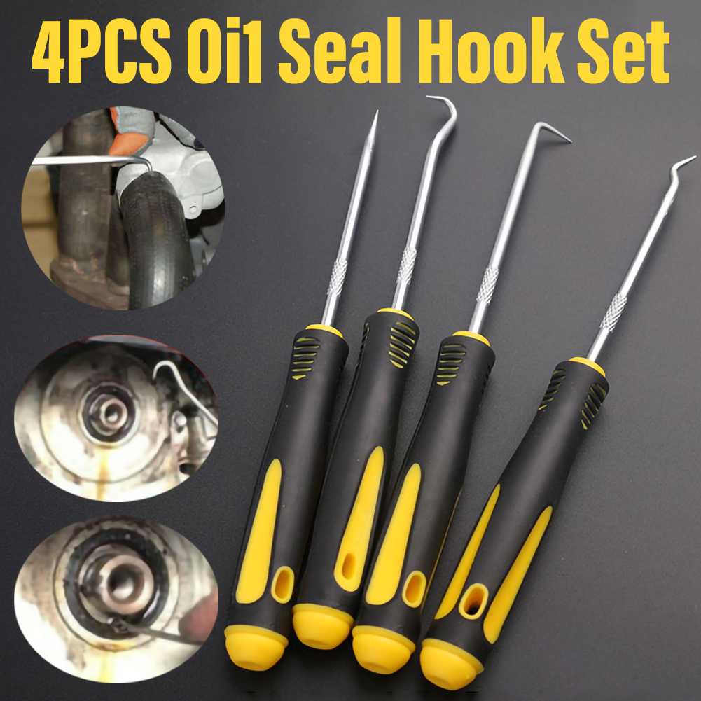 4Pcs Stable And Durable Car Hook Oil Seal O-Ring Seal Hook Remover Pick Set Tools Suitable For Auto Repair
